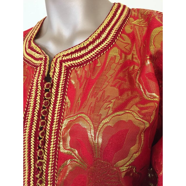 1970s Vintage 1970s Moroccan Kaftan Red and Gold Floral Brocade Caftan Maxi Dress For Sale - Image 5 of 9