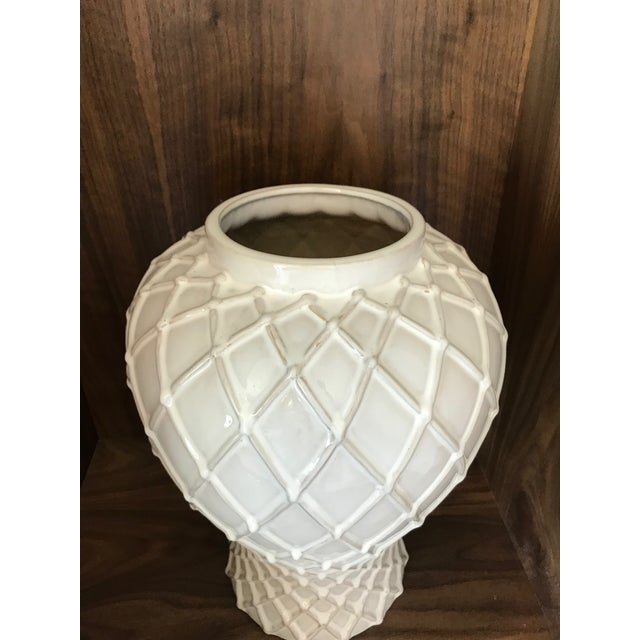 Exquisite Blanc De Chine Lidded Vase With Lattice Design, Italy For Sale - Image 10 of 12