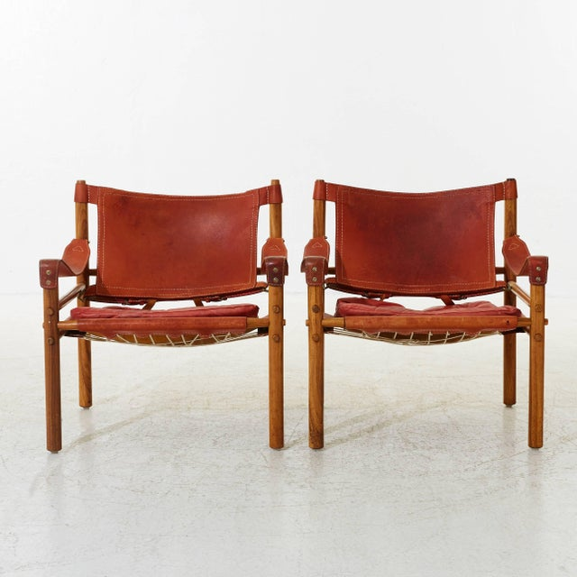 Mid-Century Modern Arne Norell Rosewood and Leather Safari Sirocco Chairs, Sweden, 1960s For Sale - Image 3 of 5