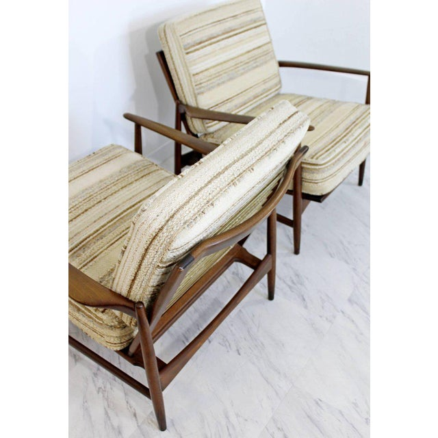 Wood Mid-Century Modern Pair of Kofod-Larsen Selig Lounge Armchairs Denmark, 1960s For Sale - Image 7 of 11