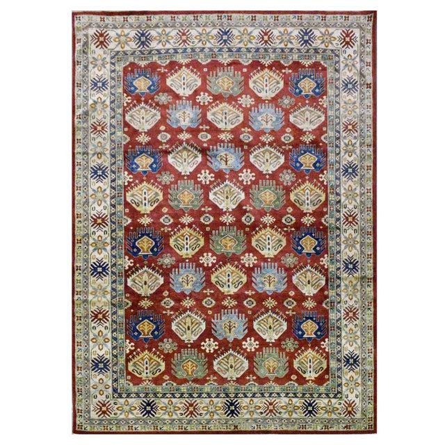 Afghan Kazak Wool Rug - 9'2''x11'9'' - Image 4 of 4