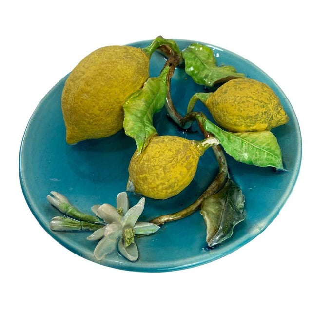 Menton French Majolica Wall Plaque Turquoise With Lemons by J. Saissi Circa 1880 For Sale - Image 9 of 13