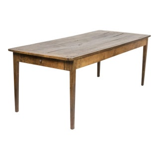 1840 English Elm Farm Table With Patina & Single Drawer For Sale