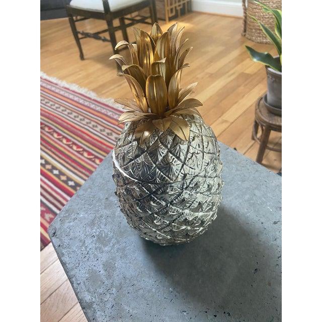 Traditional Vintage Italian Mauro Manetti Metal Clad Pineapple Ice Bucket For Sale - Image 3 of 5