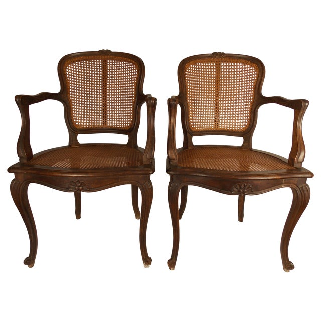 Louis XV Style Caned Chairs - A Pair - Image 1 of 6