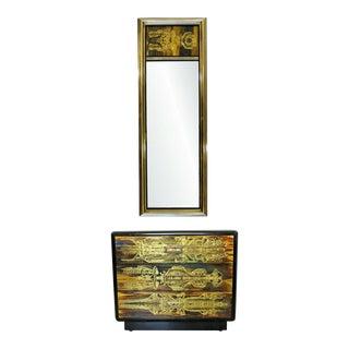 Mid Century Modern Bernard Rohne Mastercraft Acid Etched Mirror & Cabinet 1970s - a Pair For Sale