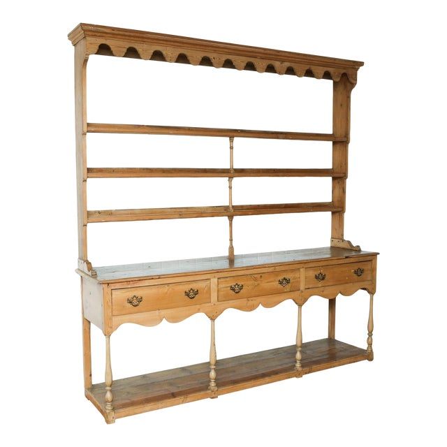19th Century Classic English Pine Cupboard With Pot Board Dresser For Sale