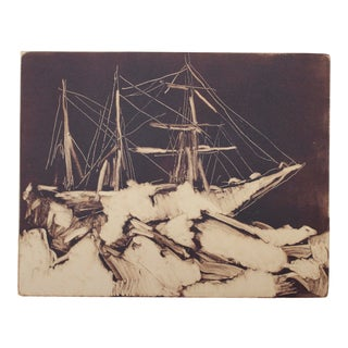 Hand-Pulled Monotype Print in Vintage Frame For Sale