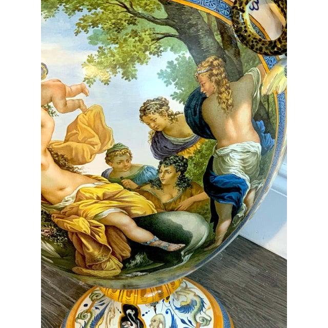 Renaissance Stunning Ginori Majolica Allegorical Serpent Handled Vase For Sale - Image 3 of 13