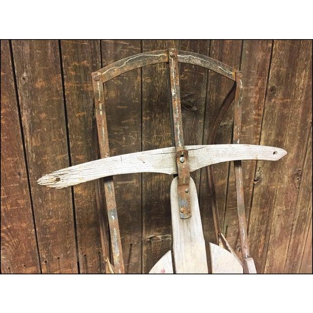 Vintage Weathered Wood & Metal Runner Sled -- Lightning Guider For Sale - Image 5 of 11