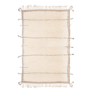 Moroccan White and Black Wool Rug With Pile - 9′7″ × 13′6″ For Sale