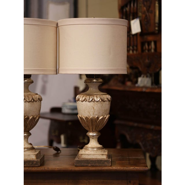 Wood Italian Carved Wood Polychrome and Painted Urn Shape Table Lamps - a Pair For Sale - Image 7 of 13