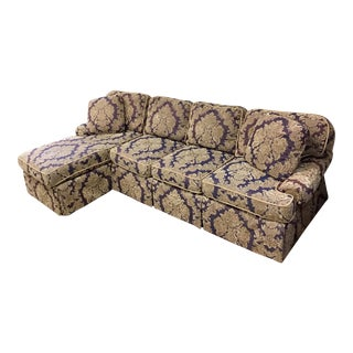 Purple and Gold Damask Brocade Sectional Sofa For Sale