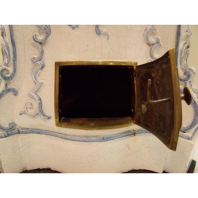 Italian Ceramic Delft Terracotta Parlor Stove Blue and White Baroqure Revival Italy Botteghe Artigiane For Sale - Image 10 of 13