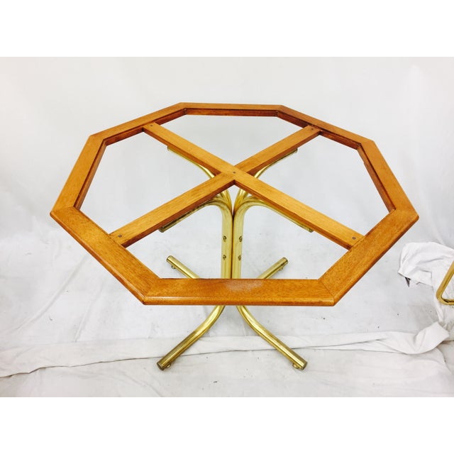 Vintage Mid-Century Modern Chrome Craft Brass & Wood Table For Sale - Image 9 of 10