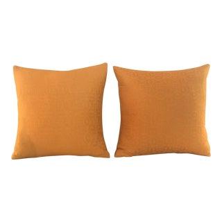 Pair of Orange Woven Cotton Decorative Pillows For Sale