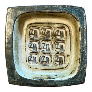 1969 Jorgen Mogensen Royal Copenhagen Abstract Dark Glaze Stoneware Square Dish For Sale