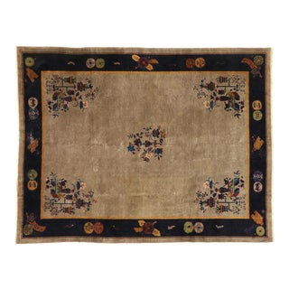 Distressed Antique Chinese Peking Rug - 08'10 X 11'06 For Sale