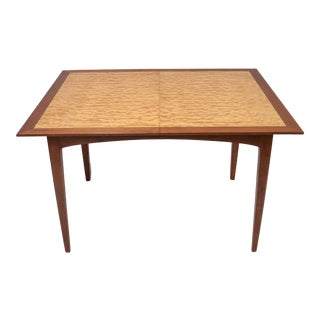 Mid Century Modern Cherry and Quilted Maple Dining Room Table With Leaves For Sale
