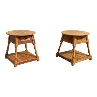 Solid Pine Antique Side Tables - a Pair