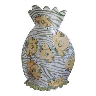 Jan Pugh Packer Creek Pottery Hand Made Large Floral Majolica Slab Vase For Sale