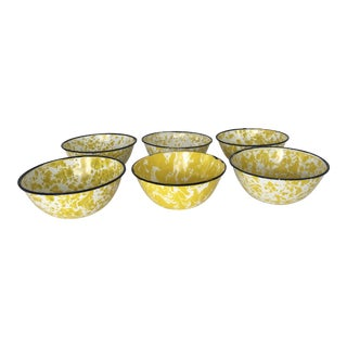 Vintage Set of 6 Yellow and White Enamel Bowls- Set of 6 For Sale