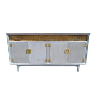 Mid-Century Modern Burl Wood and Brass Credenza in a Cerused Finish