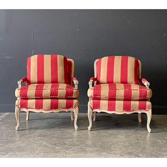 French Country French Country Style Lounge Chair and Ottoman a Pair For Sale - Image 3 of 11