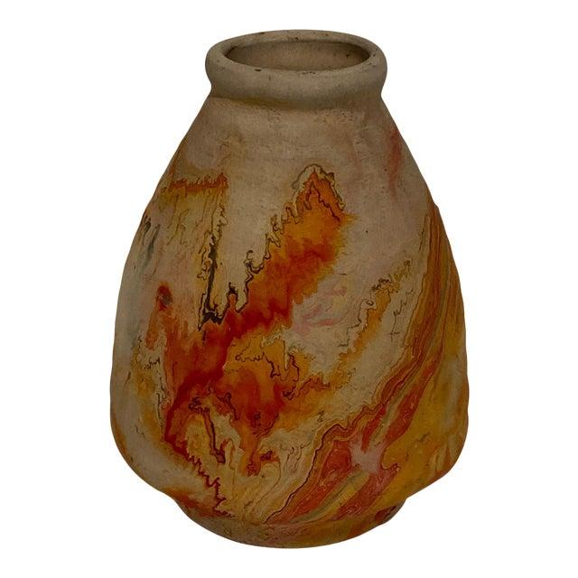Vintage Indian Nemad Orange Brown Pottery Vase For Sale