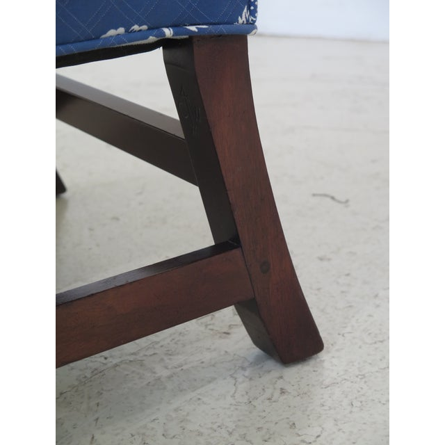 1940s Kittinger Cw-12 Colonial Williamsburg Blue Upholstered Mahogany Wing Chair For Sale - Image 5 of 13