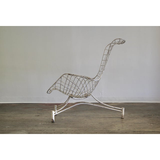 """An early 1950s indoor or outdoor powder-coated steel """"Capricorn"""" lounge chair by Vladimir Kagan. Elegant curved form, with..."""