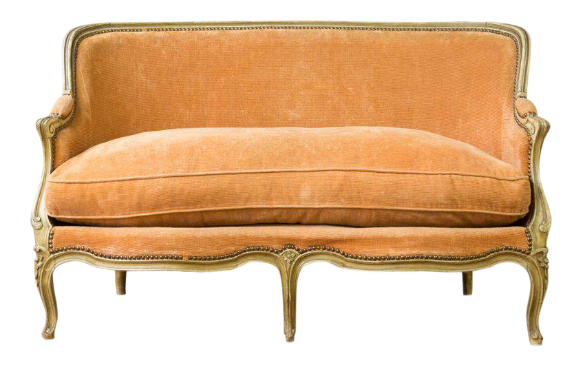 Small French Louis XV Style Settee In Pale Apricot Velvet