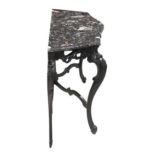 Mission Avenue Studio Rococo Marble Demilune Table For Sale - Image 4 of 8