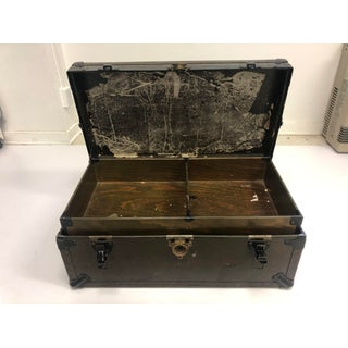 Vintage Industrial Wood Military Foot Locker Trunk With Tray Preview