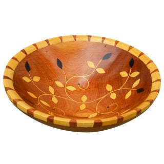 Moroccan Bowl W/ Intricate Floral Inlay For Sale