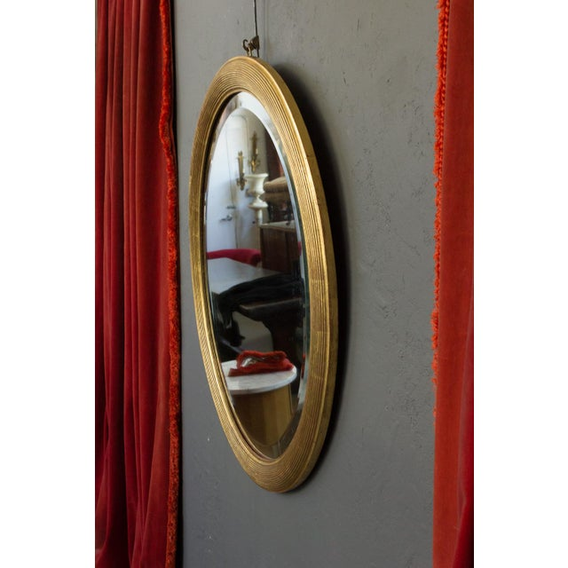 Neoclassical French 19th Century Oval Mirror with Gilt Frame For Sale - Image 3 of 11