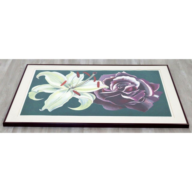 Modern 1970s Mid Century Modern Framed Lowell Nesbitt Hand Signed Lithograph Lily & Rose For Sale - Image 3 of 7