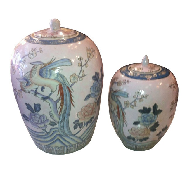 Asian Ginger Jars in Pastels - A Pair - Image 1 of 4