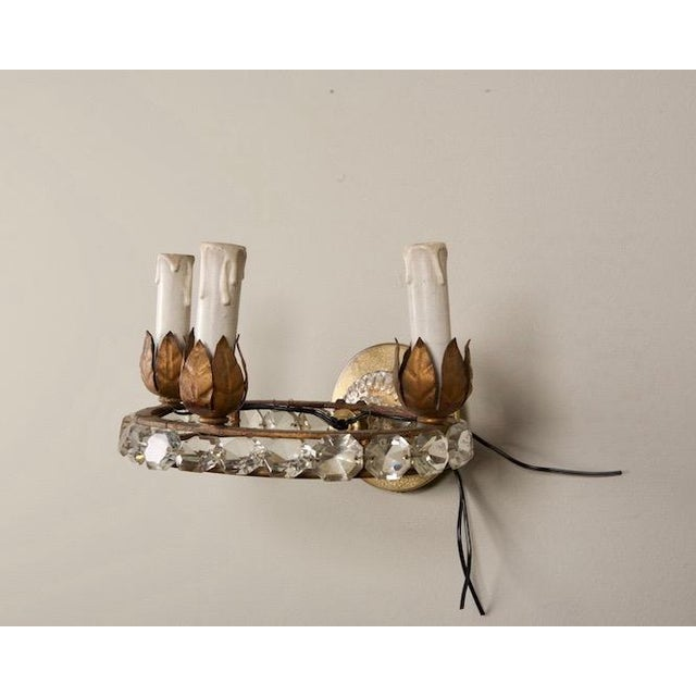 Late 19th Century French Three Light Oval Crystal Beads Sconces - Pair For Sale - Image 5 of 8