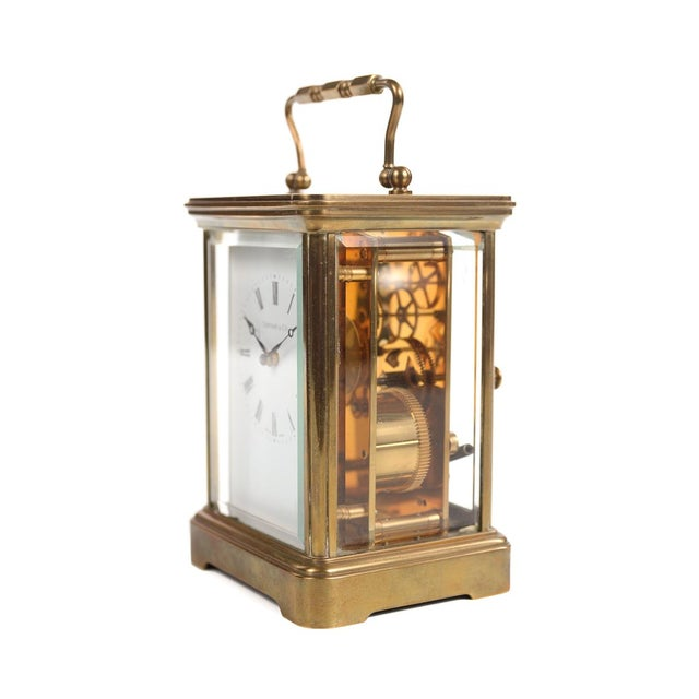 Tiffany and Co. Tiffany & Co. Vintage Brass Carriage Clock For Sale - Image 4 of 9