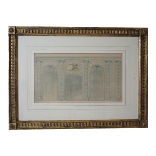 Antique 1820's Hand-Colored Architectural Drawing of Flowering Trellis For Sale