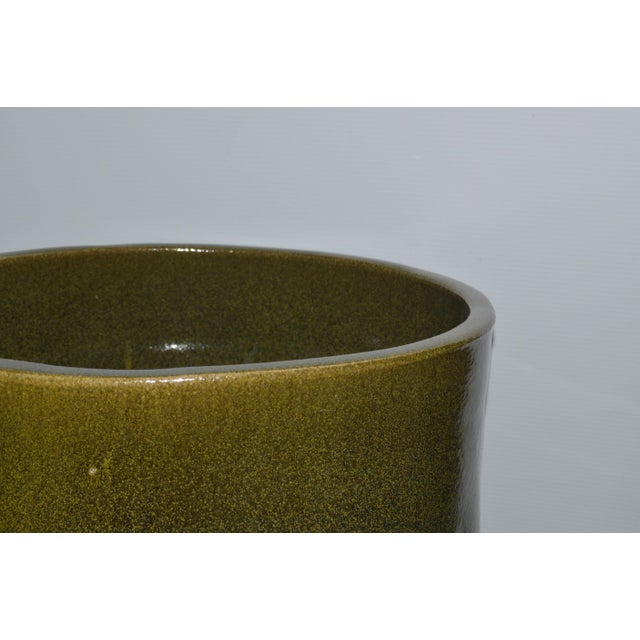 "Contemporary Artisan Series Glazed Terracotta Planter ""Verde"" For Sale - Image 3 of 5"