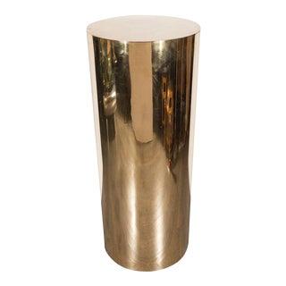 Sleek Mid-Century Modern Cylindrical Brass Pedestal For Sale