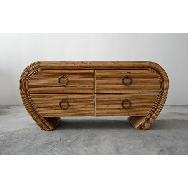 Boho Chic Vintage Reeded Bamboo Wicker Ratan Dresser Credenza For Sale - Image 3 of 7