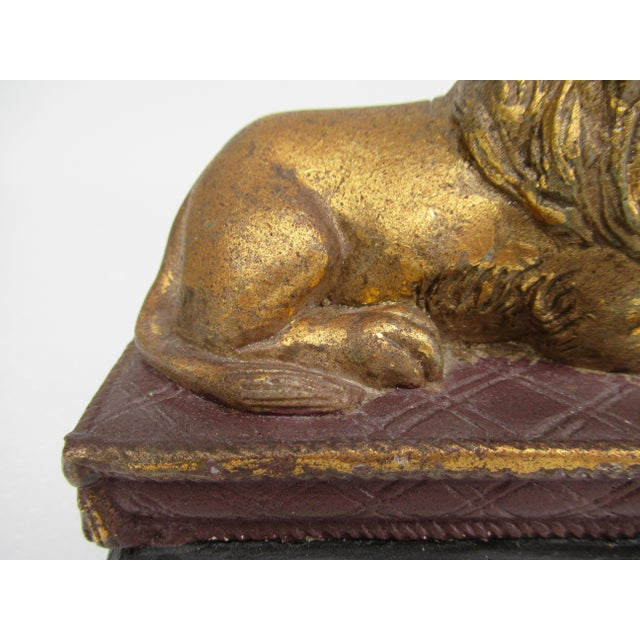 C.1980s Gilt Carved Lion Accent Piece / Paperweight on Attached Pedestal Scroll Base For Sale - Image 12 of 13