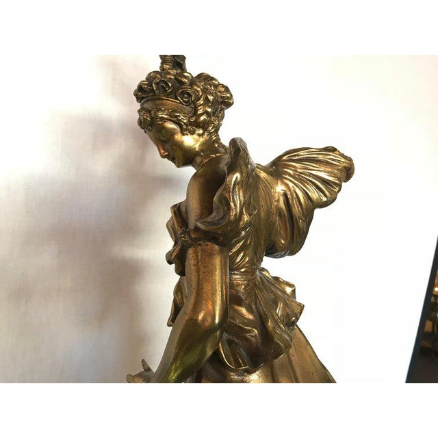 Large Duplex Bronze Figure Woman and a Child Holding a Custom Glass Shade For Sale - Image 11 of 13