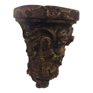 1630s Antique Sicilian Baroque Hand Carved Gilded Wood Shelf For Sale