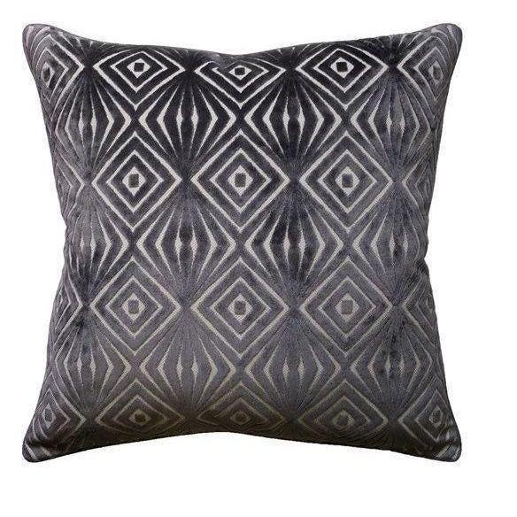 Boho Chic Cut Velvet Geometric Pillow For Sale - Image 3 of 3
