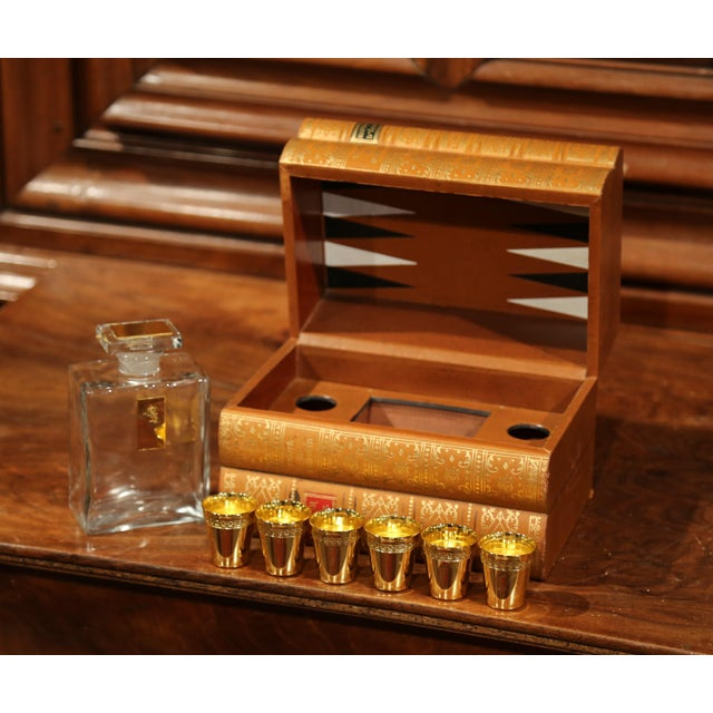 Mid-20th Century French Cave À Liqueur Leather Book with Shot Glasses and Carafe For Sale - Image 9 of 11