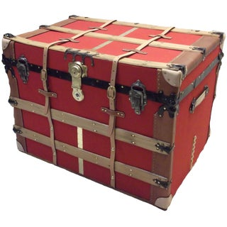 20th Century Americana Restored Red Canvas Carriage Trunk For Sale